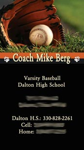 Coach Mike Berg's business card