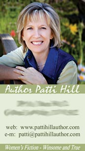 Author Patti Hill's business card