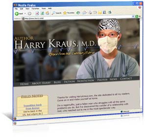Web site redesign for suspense author Harry Kraus