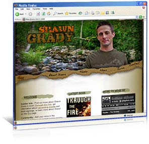 Web site design for author Shawn Grady